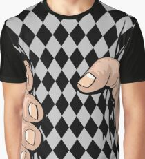 Big Hand Squeezing Checkered Style Graphic T-Shirt