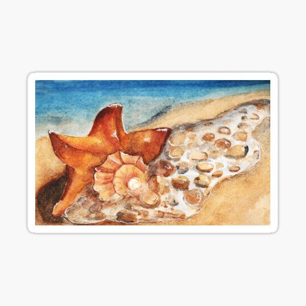 Watercolor - Seashell on white beach  Sticker