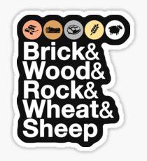 Helvetica Settlers of Catan: Brick, Wood, Rock, Wheat, Sheep   Board Game Geek Ampersand Design Sticker