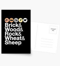 Helvetica Settlers of Catan: Brick, Wood, Rock, Wheat, Sheep | Board Game Geek Ampersand Design Postcards
