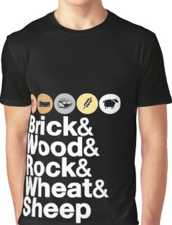 Helvetica Settlers of Catan: Brick, Wood, Rock, Wheat, Sheep | Board Game Geek Ampersand Design Graphic T-Shirt