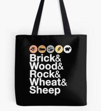 Helvetica Settlers of Catan: Brick, Wood, Rock, Wheat, Sheep   Board Game Geek Ampersand Design Tote Bag