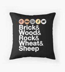Cojín Helvetica Settlers of Catan: Ladrillo, madera, roca, trigo, oveja | Juego de mesa Geek Ampersand Design