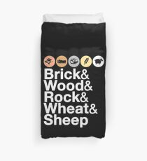 Helvetica Settlers of Catan: Brick, Wood, Rock, Wheat, Sheep | Board Game Geek Ampersand Design Duvet Cover