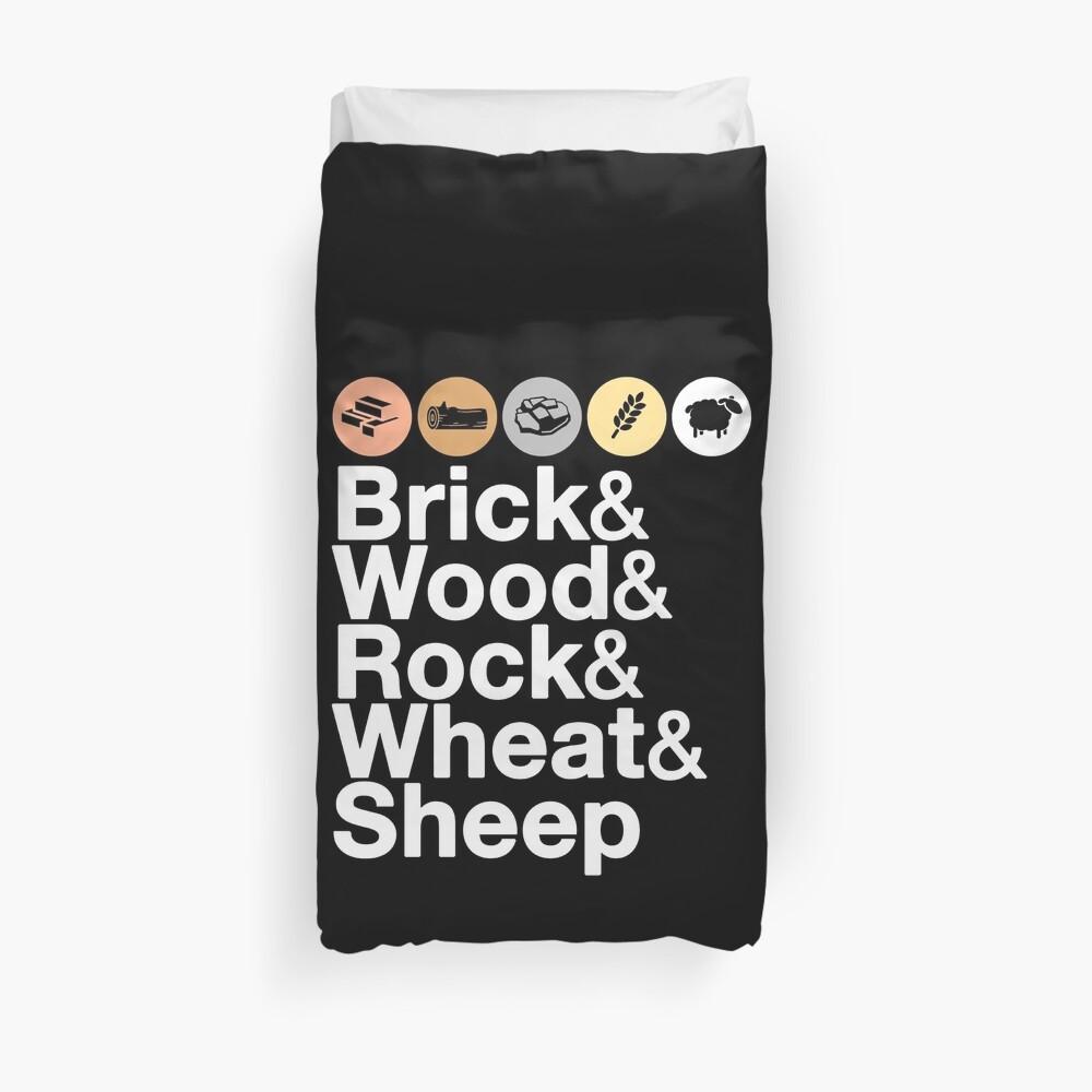 Helvetica Settlers of Catan: Brick, Wood, Rock, Wheat, Sheep | Board Game Geek Ampersand Design Duvet Cover