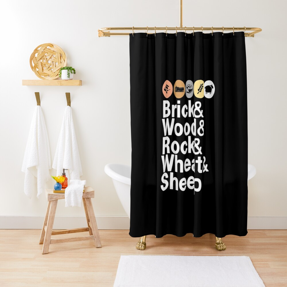 Helvetica Settlers of Catan: Brick, Wood, Rock, Wheat, Sheep   Board Game Geek Ampersand Design Shower Curtain