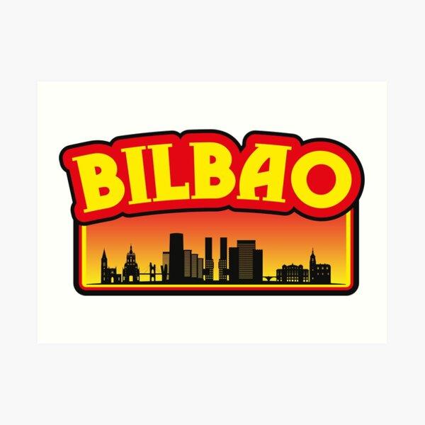 Bilbao-España, silueta de sol, recuerdo de viaje Lámina artística