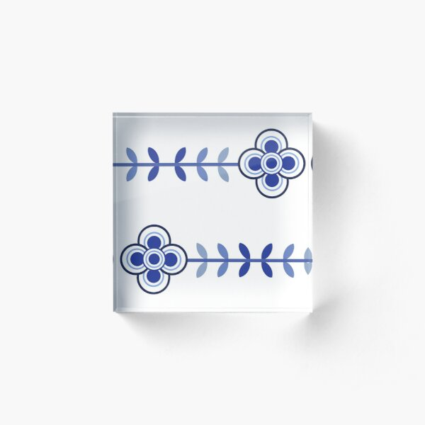 Hygge inspired flowers (blue) Acrylic Block