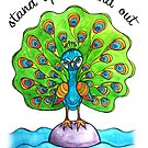 Stand Up & Stand Out: Whimsical Cute Peacock Watercolor Illustration by mellierosetest