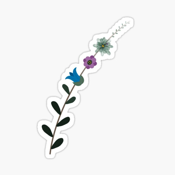 Hygge inspired flowers and leaves Sticker