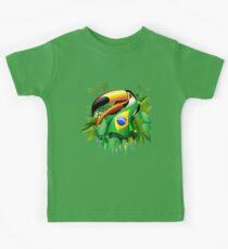 Toco Toucan on Brazil Flag Kids Tee