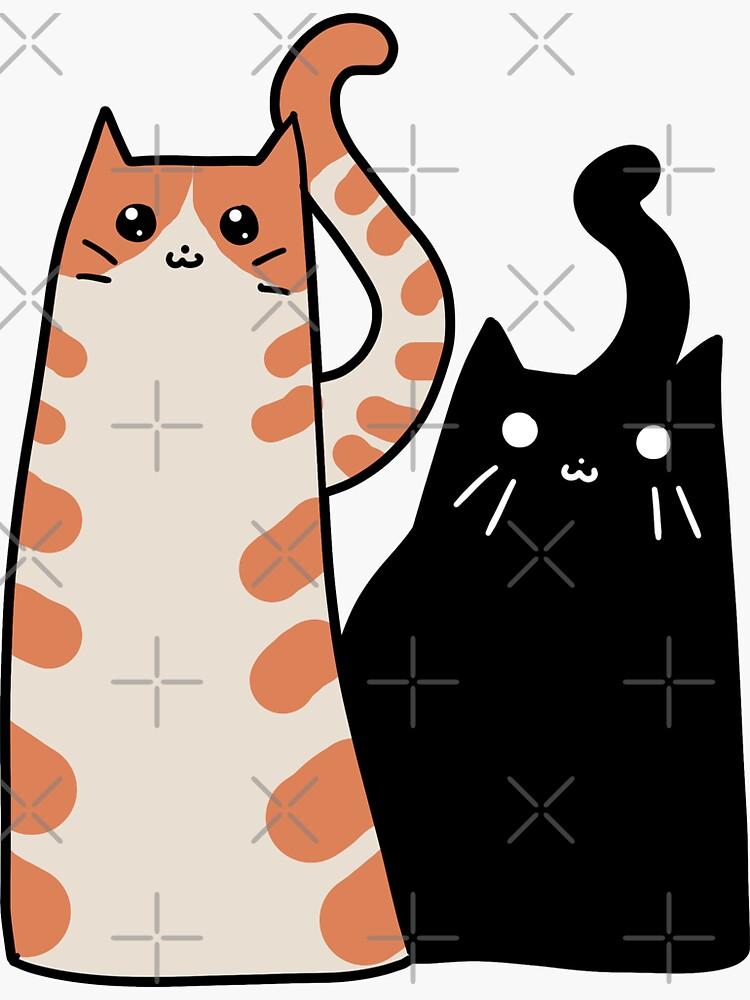 Tabby Cat and Black Cat by SaradaBoru