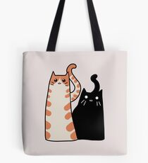 Tabby Cat and Black Cat Tote Bag