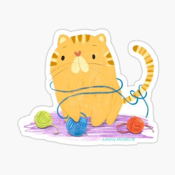 Cat with balls of wool Sticker