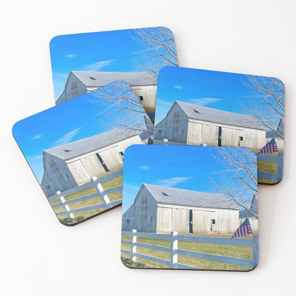 Quilt barn in winter photograph Coasters (Set of 4)