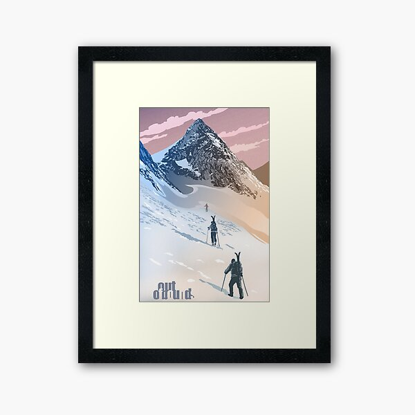 Out of Bounds back country ski poster Framed Art Print