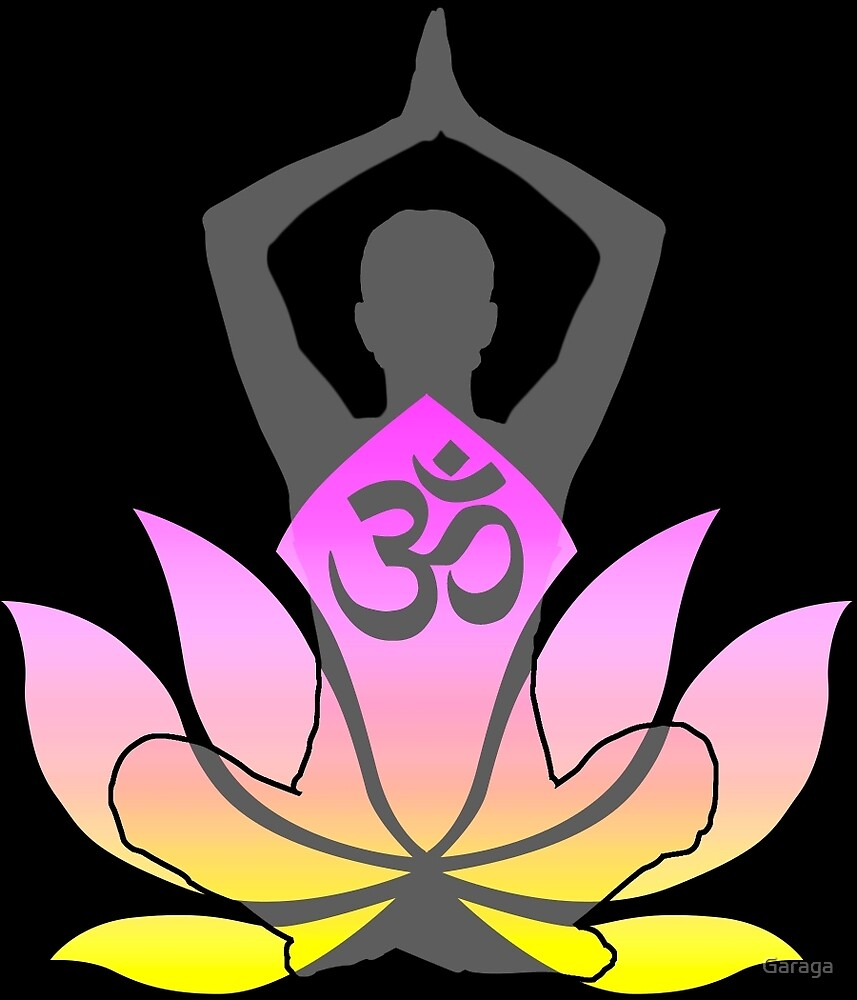 OM Namaste Yoga Pose Lotus Flower by Garaga