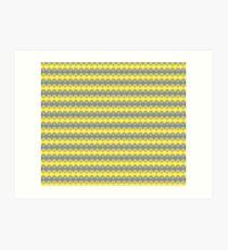Yellow and Gray Scalloped Pattern Art Print