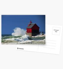 Grand Haven Lighthouse Waves Postcards
