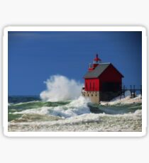 Grand Haven Lighthouse Waves Sticker