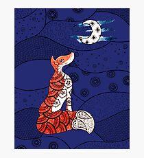 Fox and moon zentangle  Photographic Print