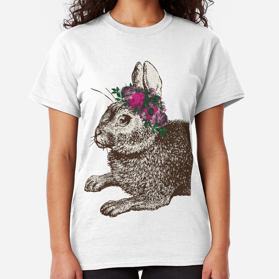 The Rabbit and Roses   Rabbit and Flowers   Vintage Rabbits   Bunny Rabbits   Bunnies   Hares    Classic T-Shirt