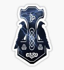 Lightning Bolt Thor's Hammer with Ravens Sticker