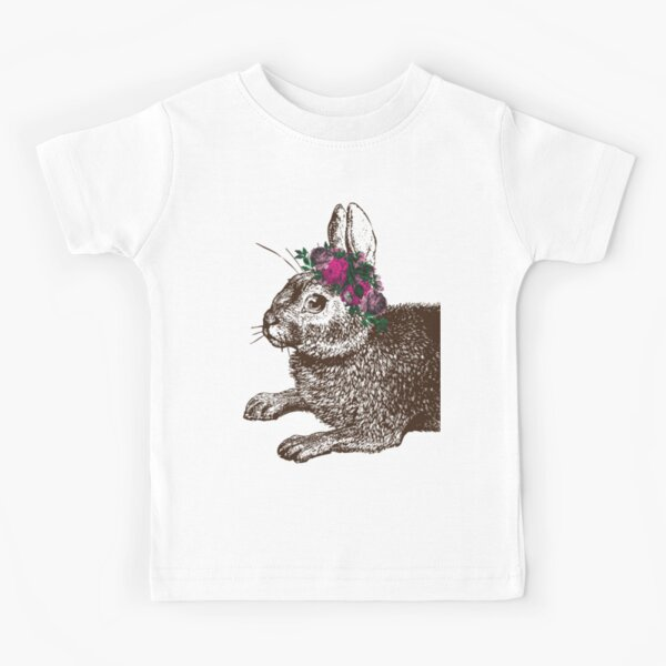 The Rabbit and Roses | Rabbit and Flowers | Vintage Rabbits | Bunny Rabbits | Bunnies | Hares |  Kids T-Shirt
