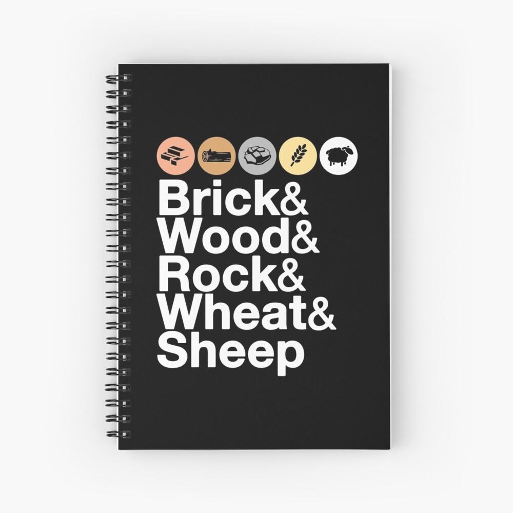 Helvetica Settlers of Catan: Brick, Wood, Rock, Wheat, Sheep | Board Game Geek Ampersand Design Spiral Notebook