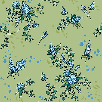 Pixel Floral - Arrangement in Blue (light) by theCatghost