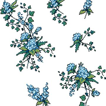 Pixel Floral - Arrangement in Blue by theCatghost