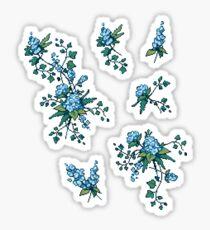 Pixel Floral - Arrangement in Blue Sticker