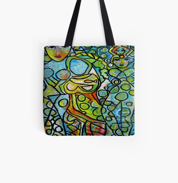 Green Goddesses All Over Print Tote Bag