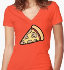 Mushroom Pizza Pattern Women's Fitted V-Neck T-Shirt