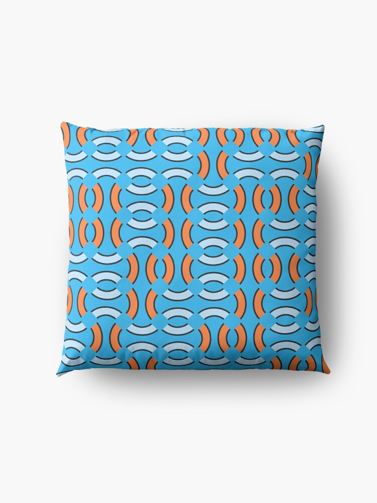 Alternate view of Modern Abstract Shapes Blue Orange Pattern Design 1241a Floor Pillow