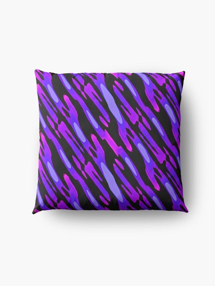 Alternate view of Modern Abstract Blue Purple Black Pattern Design 1748 Floor Pillow