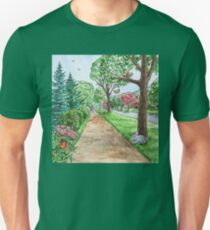 Landscape With Rabbit Squirrel and Butterflies T-Shirt