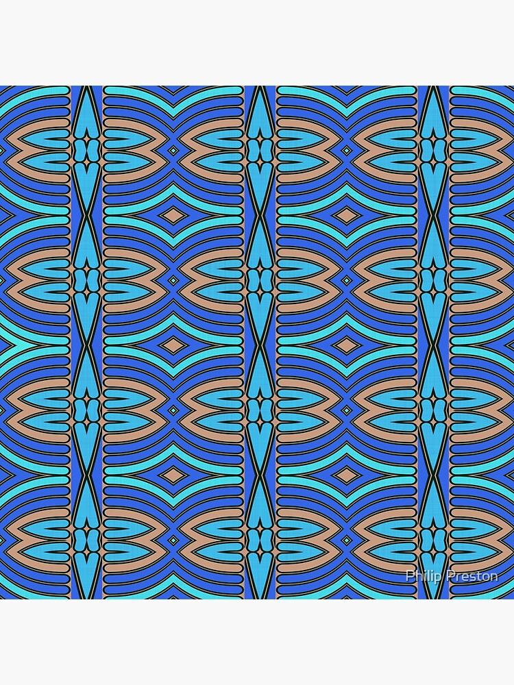 Modern Geometric Blue Orange Pattern Design 1346a by prestonphoto