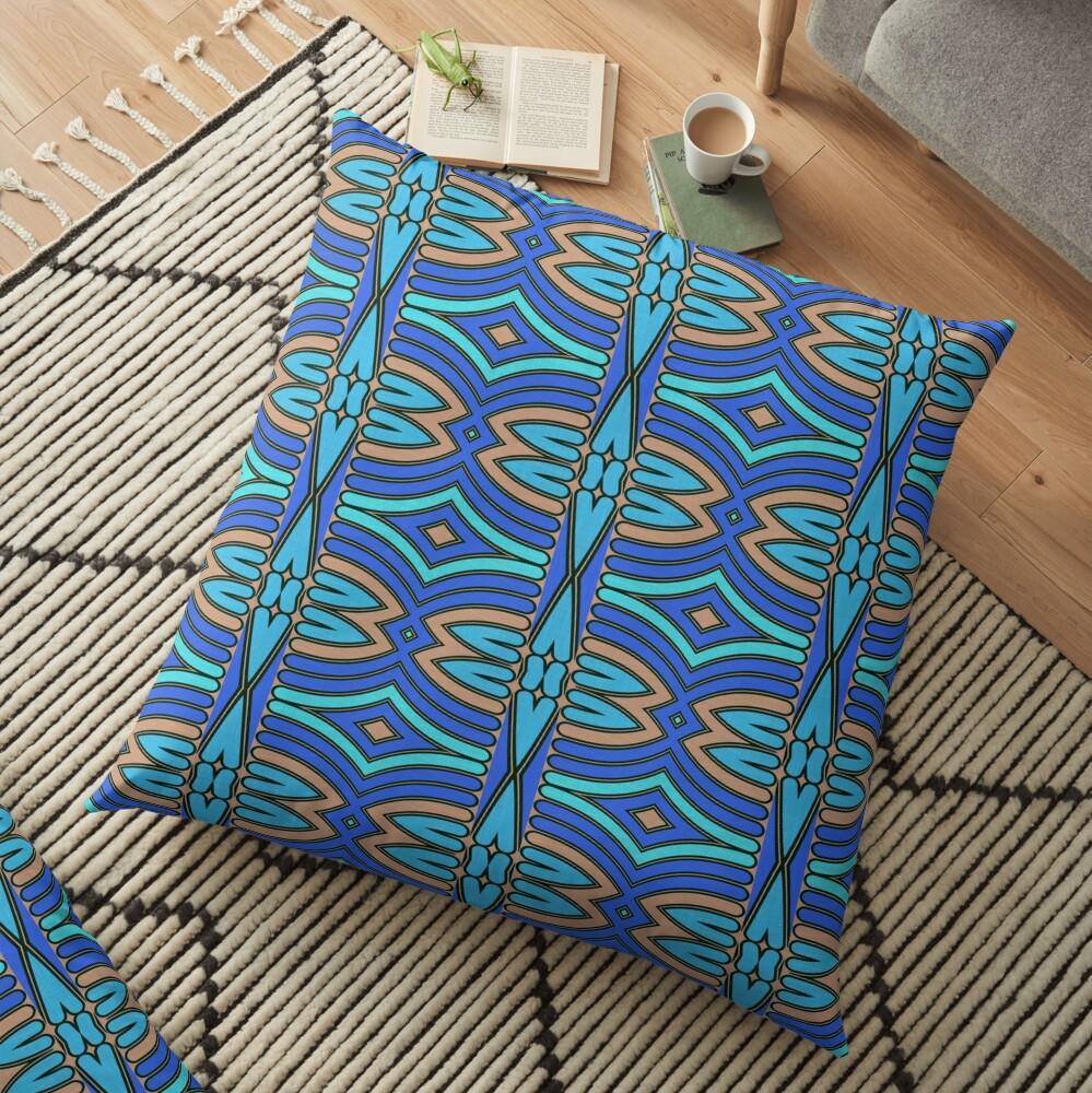 Modern Geometric Blue Orange Pattern Design 1346a Floor Pillow