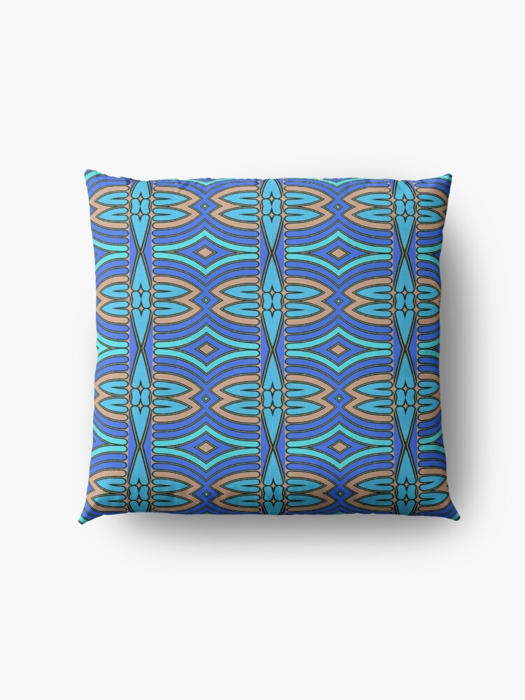 Alternate view of Modern Geometric Blue Orange Pattern Design 1346a Floor Pillow