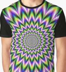 Star Flower in Green Blue and Violet Graphic T-Shirt