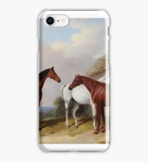 William Barraud  A bay, a chestnut and a grey by a thatched cottage iPhone Case/Skin