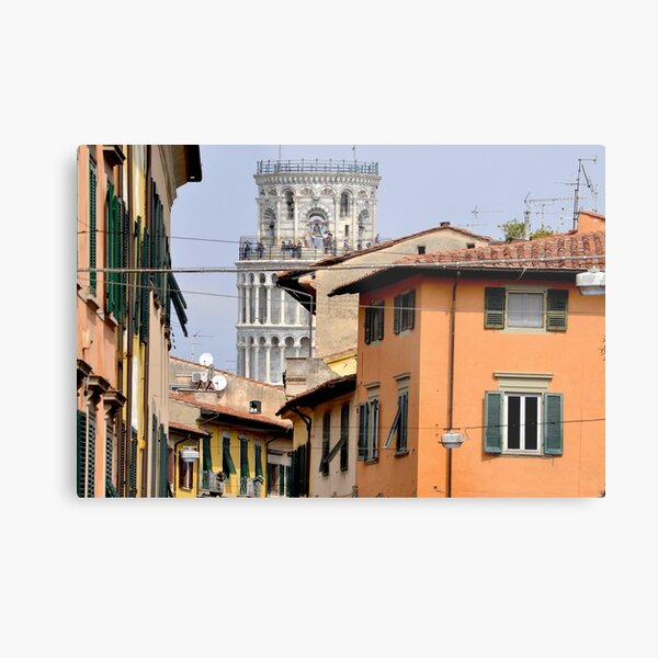Pisa's Leaning Tower through the Streets Metal Print