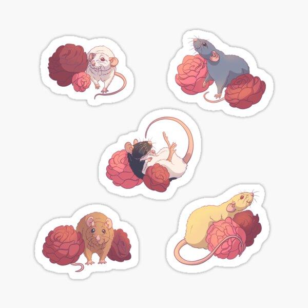 Rose Flower Rat Sticker Set Sticker