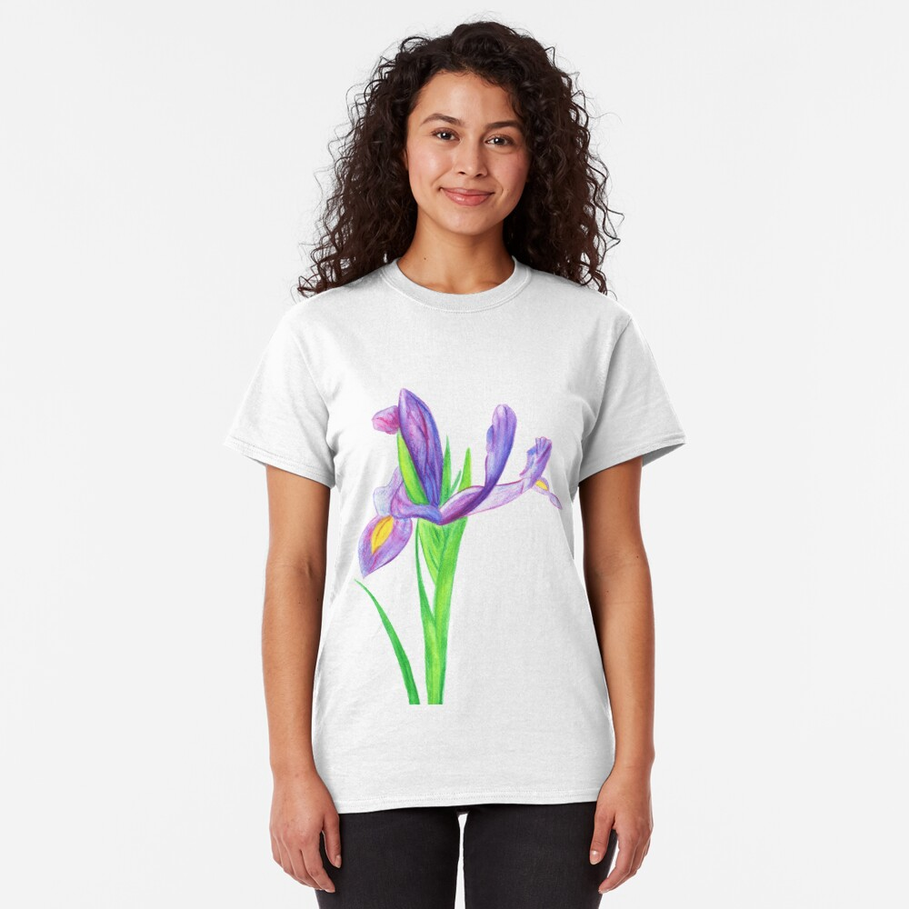 Iris in Watercolour Pencil Classic T-Shirt