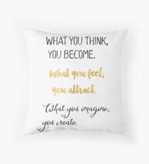 Gautama Buddha quote, gold Throw Pillow