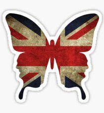 butterfly union jack white Sticker