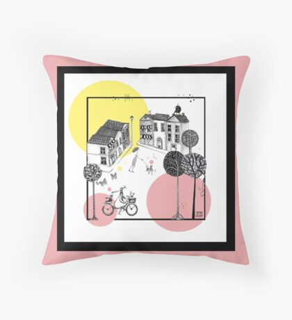 Busy village 1 Throw Pillow