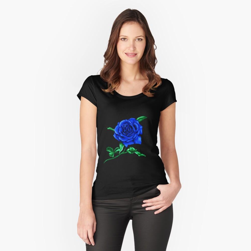 Blaue Rose Tailliertes Rundhals-Shirt