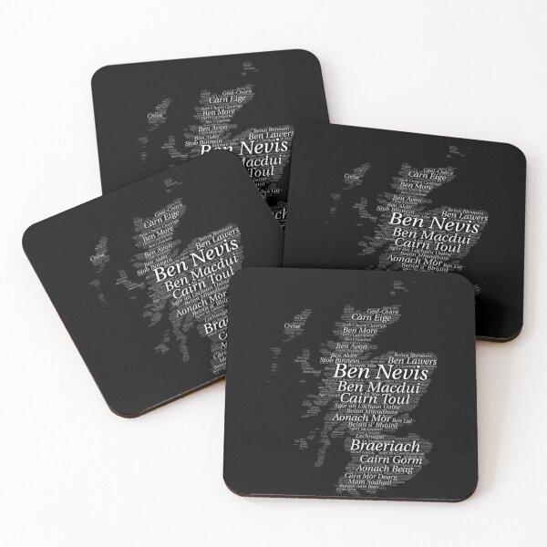 Scottish Munro Bagging Munro Scotland Outline Wordart Coasters (Set of 4)